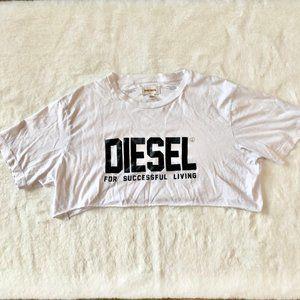Diesel White Logo Short Sleeve Crop Top